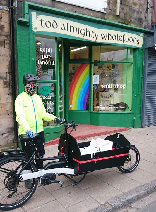 We can now encourage our Todmorden customers to have their shopping delivered by volunteers on a very special bicycle